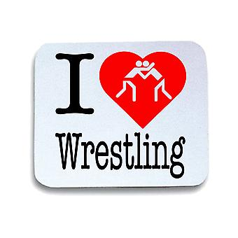 Tappetino mouse pad bianco wtc1714 i love wrestling