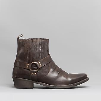 Maverick Mens Soft Leather Cowboy Boots Dark Brown