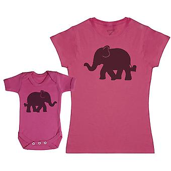 Baby And Mummy Elephants - Baby Bodysuit & Mother's T-Shirt