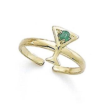 14k Yellow Gold Emerald Martini Toe Ring Jewelry Gifts for Women