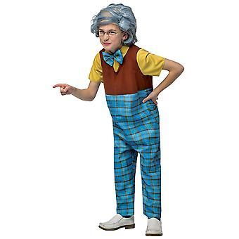Opa oude man grootvader prep 100 dagen van school boek week jongens kostuum