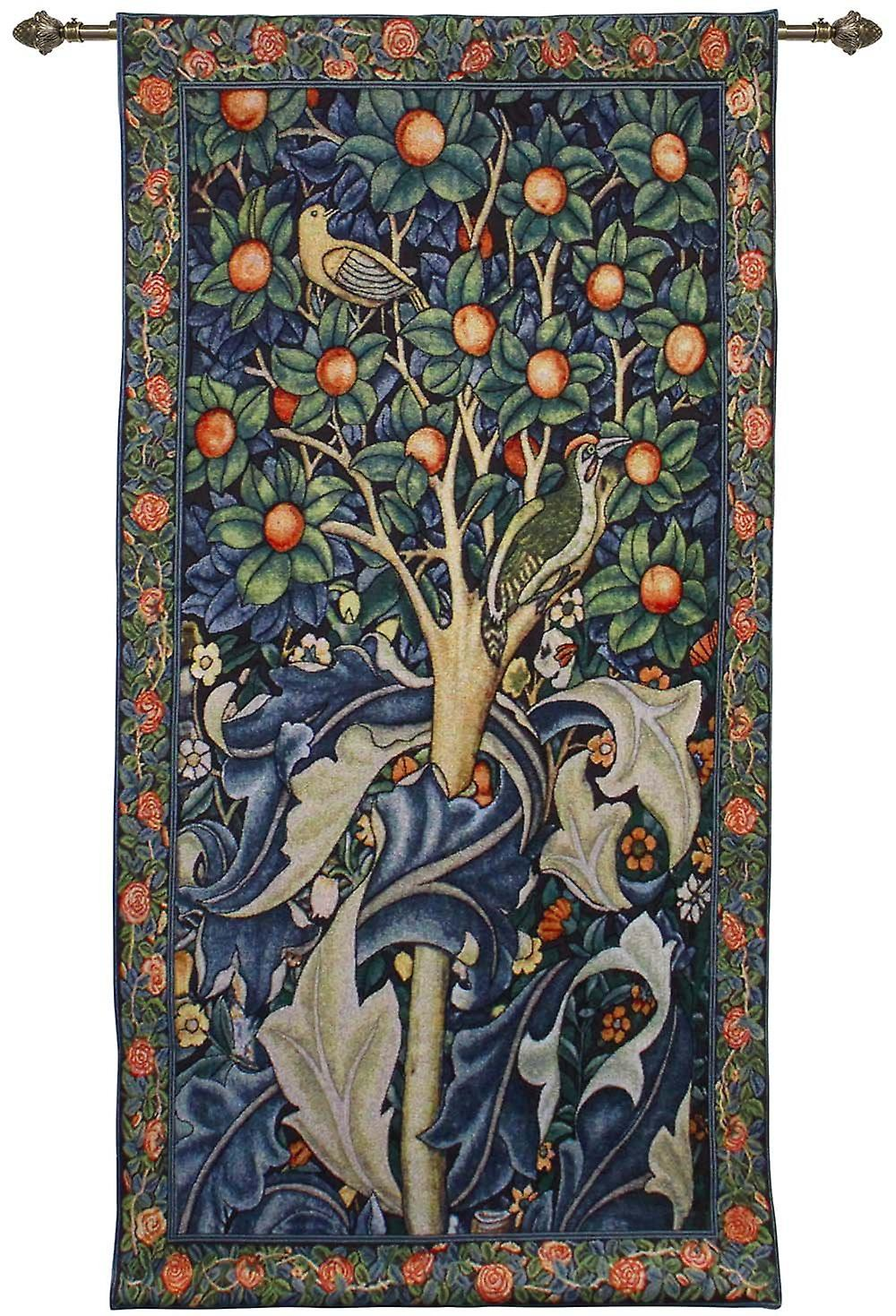 William morris - woodpecker in fruit tree wall hanging by signare tapestry / 69cm x 139cm / wh-wm-wp