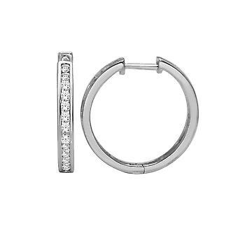 Igi certified solidl 925 sterling silver 0.75 ct diamond hoop earrings