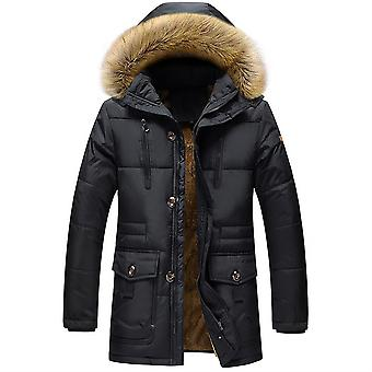 Allthemen Men's Solid Hodded Mid-Length Wool Coat Winter Warm Thick Padded Outwear Fluffy Hoodies
