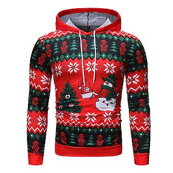 YANGFAN Men's Casual Print Christmas Hoodies Funny Pullover