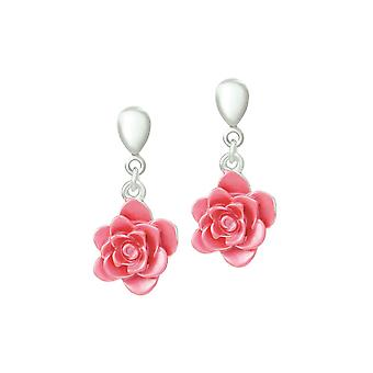 Eternal Collection Camellia Pink Enamel Silver Tone Flower Drop Clip On Earrings