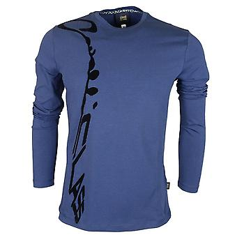 Cavalli Class Ananke Stretch Cotton Embossed Logo Long Sleeve Blue T-shirt