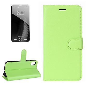 Für iPhone XS, X Brieftasche Fall, Gestylte Lychee Flip Schutz ledern E-Leder-Abdeckung, grün