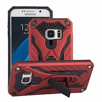 For Samsung Galaxy S7 Case, Armour Sterk Shockproof Tøff Cover Kickstand, Rød