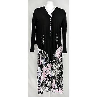 Carole Hochman Women's Petite Gown Woodblock Floral Lounge Set Black A286858