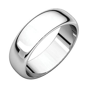 10k White Gold 6mm Half Round Band Ring Jewelry Gifts for Women - Ring Size: 6 to 15