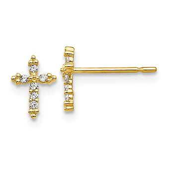 14k Yellow Gold Madi K CZ Cubic Zirconia Simulated Diamond for boys or girls Religious Faith Cross Post Earrings