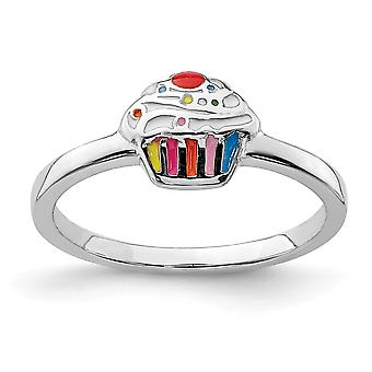 925 Sterling Silver Rhodium plated for boys or girls Enameled Cupcake Ring - Ring Size: 3 to 4