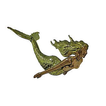 抛光黄铜和铜 3D 悬挂美人鱼雕塑