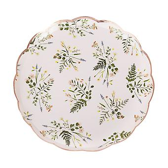Pink Botanical Floral Gold Party Plates x 8 - Hen Party