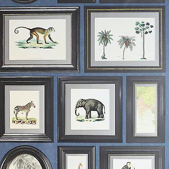 Powder Room Navy Grey Wallpaper Safari Animals Photo Frames Wildlife Palm Trees