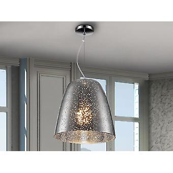 Schuller Quasar - Lâmpada feita de metal, acabamento cromado. Tonalidade de vidro soprado na cor cromada com decoração manchada clara. - 436218