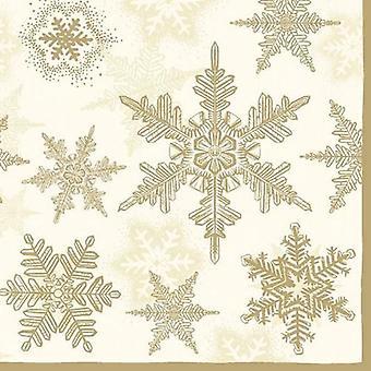 CraftEmotions servetten 5pcs - Sneeuwkristallen goud 33x33cm Ambiente 33303935