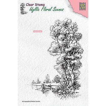 Nellie's Choice Clearstamp - Idylliskt blommigt scenträd med båt IFS014 100x140mm