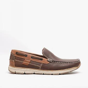 Roamers Hoyte Mens Leather Moccasin Boat Shoes Brown