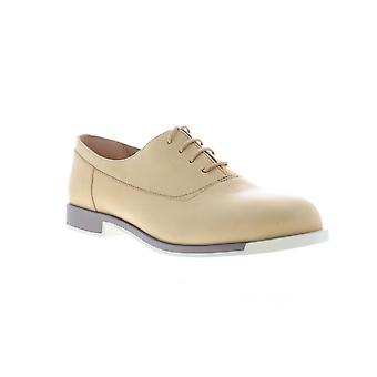 Camper Bowie  Womens Beige Tan Leather Lace Up Flats Oxfords Shoes