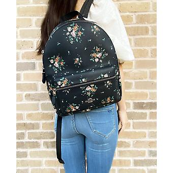 Coach 91530 medium charlie backpack rose bouquet print midnight blue