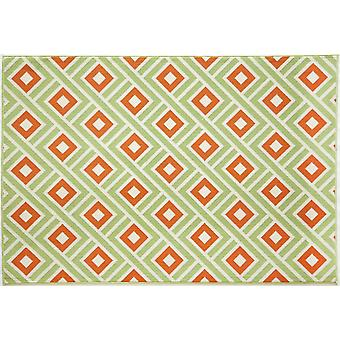 In - and outdoor carpet balcony / living room vitaminic Greca green - orange 160 x 230 cm