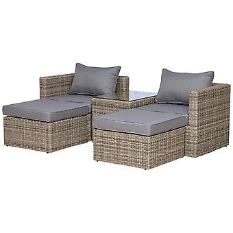 Outsunny 5 Pcs Rattan Garden Furniture Set w/ Tall Glass-Top Table Aluminium Frame Plastic Wicker Thick Soft Cushions Comfortable Outdoor Balcony Home Sofa - Grey