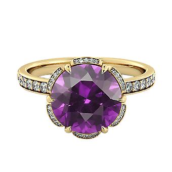 Amethyst 2.00 ctw Ring with Diamonds 14K Yellow Gold Flower Vintage Halo