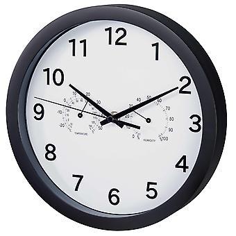 HAMA Wall Clock Pure Plus incl. Thermo/Hygro Noir