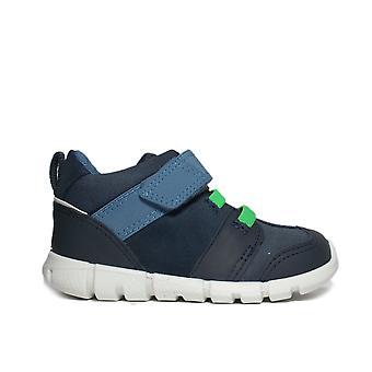 Ecco Intrinsic Mini 754561 01038 Blue Nubuck/Leather Boys Casual Rip Tape Boots