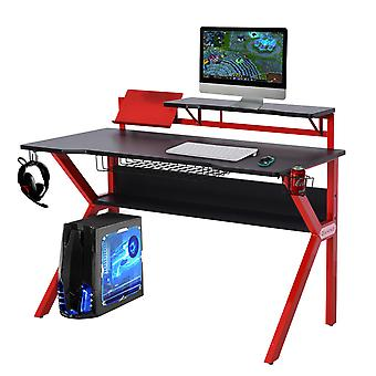 HOMCOM Gaming Desk Computer Table Metal Frame with Cup Holder Headphone Hook, Cable Basket, Red