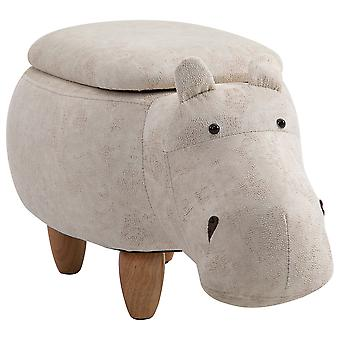 HOMCOM Hippo Storage Stool Cute Decoration Footrest Wood Frame Legs w/ Padding Lid Ottoman Animal Furniture Cream 36x65cm