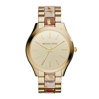 Michael Kors MK4300 Gold Dial Gold Tone And Zebra Acetate Ladies Watch