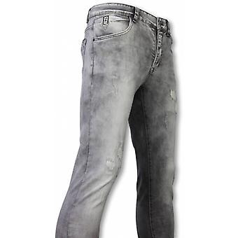 Jeans - Slim Fit Damaged Premium Jeans - Grijs