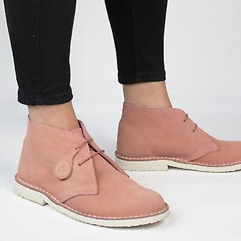 Popps Pastel Ladies Suede Casual Desert Boots Dusty Pink