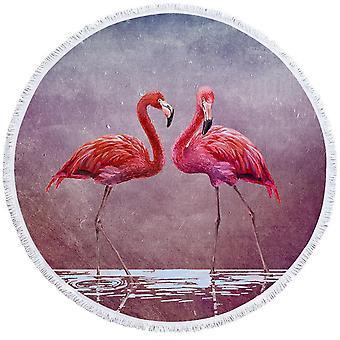 Kaksi Flamingos-ranta pyyhettä