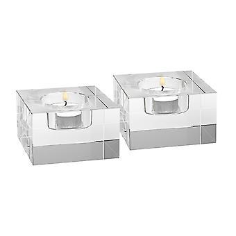 Handgefertigtes Kristallblock-Paar Tlite-Halter