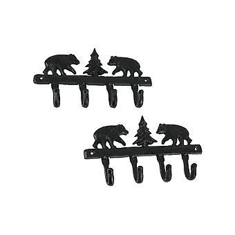 Set van 2 Cast Iron Black Bear en Pine Tree Wall Hook Racks