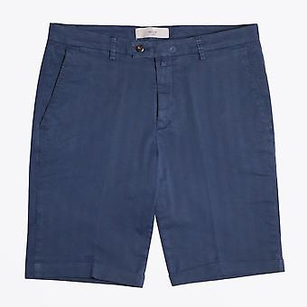 Briglia - Navy Shorts With Tonal Stripe And Turn Up