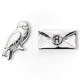 Harry Potter Silber vergoldet Ohrringe Hedwig Eule & Brief