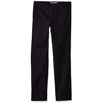 Essentials Girl's Slim Uniform Chino Pants, Black, 7(S)