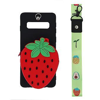 Samsung Galaxy S10 skal/plånboksfodral Jordgubbe/svart/röd