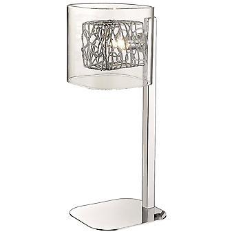 1 licht tafellamp mesh chroom, helder en glas, G9
