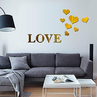 Home Love Pattern Diy Furniture Mirror Effect Decor Wall Art