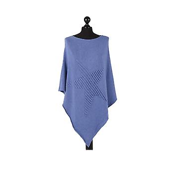 Orla Knitted Star Poncho | Denim | One Size