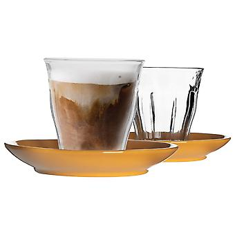 12 Piece Picardie Glass Coffee Cup and Ceramic Saucer Set - Modern Style Tumbler Mug for Latte Cappuccino - Yellow - 220ml