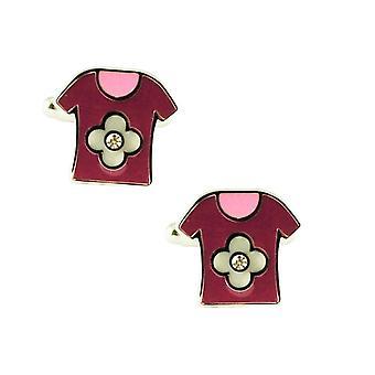 Solmiot Planet Vaaleanpunainen T-paita Hopea Kukka Uutuus Kalvosinnapeja