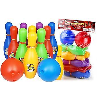 Speelgoed bowling set - 10 pins & 2 bowlingballen - multigekleurd