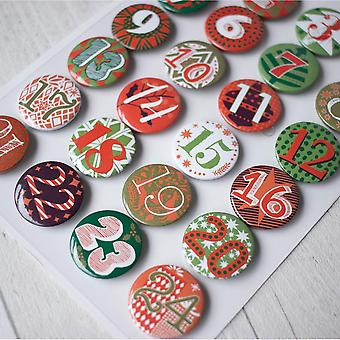 Advent Calendar Buttons Green and Red 1- 24 DIY Advent Calendar Craft